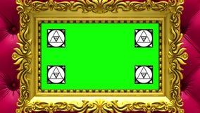 Enfoque de la cámara en el marco del oro en fondo de la tapicería roja de lujo Movimiento que sigue los marcadores y la pantalla  stock de ilustración