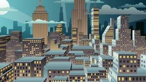 Enfoque de la noche del paisaje urbano almacen de video