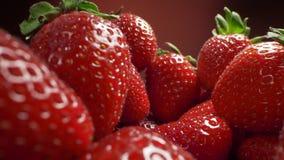 Enfoque del carro a las fresas maduras frescas, cocinando la fresa, tiroteo macro de la comida, HQ lleno 422 60p de HD Prores almacen de metraje de vídeo