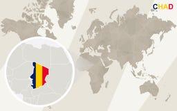 Enfoque en Chad Map y bandera Correspondencia de mundo stock de ilustración