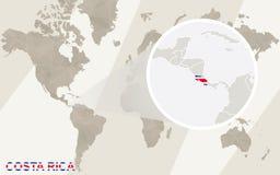Enfoque en Costa Rica Map y bandera Correspondencia de mundo stock de ilustración