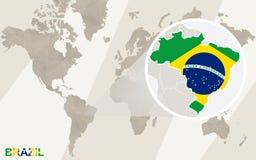 Enfoque en el mapa y la bandera del Brasil Correspondencia de mundo libre illustration