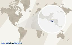 Enfoque en el EL Salvador Map y bandera Correspondencia de mundo stock de ilustración