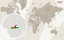 Enfoque en mapa y bandera del COCHE Correspondencia de mundo