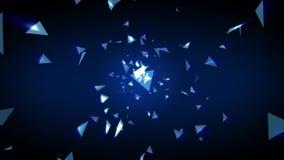 enfoque geométrico de la forma de la luz del triángulo del polígono azul abstracto 3D Modelo gráfico del fondo del movimiento de  metrajes