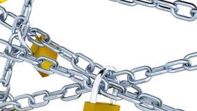Enfoque hacia fuera en cinco cadenas tensas del metal a través de la pantalla cerrada por cuatro candados ilustración del vector
