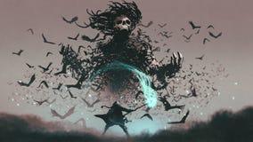 Enfrentando o diabo dos corvos ilustração stock
