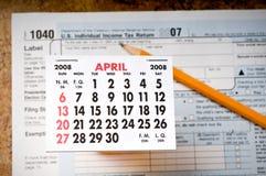 Enfrentando o fim do prazo do imposto Fotografia de Stock Royalty Free