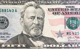 Enfrente em dólares do macro da conta dos E.U. cinqüênta ou 50, close up do dinheiro de Estados Unidos Imagens de Stock
