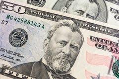 enfrente em dólares do macro da conta dos E.U. cinqüênta ou 50, Estados Unidos Fotografia de Stock