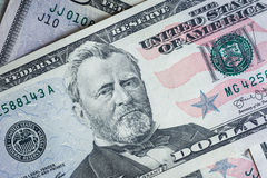 enfrente em dólares do macro da conta dos E.U. cinqüênta ou 50, fundo das cédulas Fotografia de Stock Royalty Free