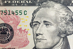 Enfrente em dólares do macro da conta dos E.U. dez ou 10, Estados Unidos Foto de Stock Royalty Free