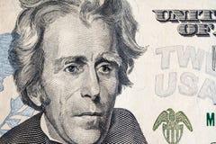 Enfrente em dólares do macro da conta dos E.U. vinte ou 20, Estados Unidos Fotografia de Stock Royalty Free