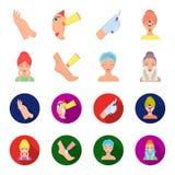 Enfrente o cuidado, cirurgia plástica, limpeza da cara, hidratando os pés Ícones ajustados da coleção dos cuidados com a pele nos Imagem de Stock Royalty Free