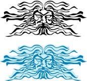 Enfrente o deus dos mares, do Poseidon ou do Neptun. ilustração do vetor