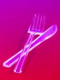 Engångskniv och gaffel Arkivfoton