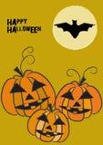 Eng Halloween beweging veroorzakend met drie het glimlachen pompoenen stock illustratie