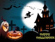 Eng Halloween-landschap met een spookhuis, een kerkhof, een heks en vliegende knuppels in volle maan stock illustratie