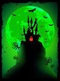 Eng Halloween met magische abdij. EPS 8 Stock Fotografie