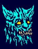 Eng hoofd van gehoornd demon met vooruitstekende hoektanden Vector illustratie royalty-vrije illustratie