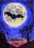 Eng nachtlandschap met knuppels, kasteel, begraafplaats, oude boom en de volle maan & x22; Oktober 31& x22; Stock Foto