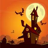 Eng oud spookspookhuis De kaart of de affiche van Halloween Vector illustratie royalty-vrije stock fotografie