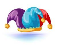 engaña el icono aislado sombrero Casquillo del bufón Ilustración del vector Tocado de la mascarada o del traje del carnaval stock de ilustración