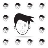 engaño en icono de la cara Sistema detallado de iconos faciales de las emociones Diseño gráfico superior Uno de los iconos de la  ilustración del vector