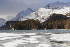 Engadin谷在有雪的瑞士Sils玛丽亚村庄在阿尔卑斯山和冻湖 免版税库存图片