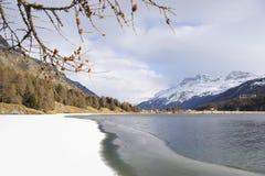 Engadin谷在有雪的瑞士Sils玛丽亚村庄在阿尔卑斯山和冻湖 库存图片