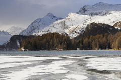 Engadin valley in Switzerland Sils Maria village with snow on Alp mountains and frozen lake Royalty Free Stock Images