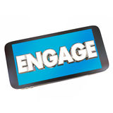 Engage Cell Smart Phone Word Communicate Word. 3d Illustration Stock Photo