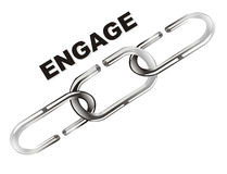 Engage chain. An engage chain with text, shiny chain isolated Stock Image