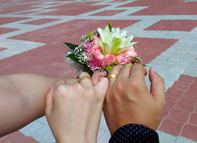 Engage Couple. With wedding ring and floral banquet Royalty Free Stock Photos
