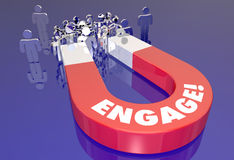 Engage Customer Audience Interaction Magnet Pulling People Stock Photo