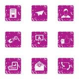 Engage finance icons set, grunge style. Engage finance icons set. Grunge set of 9 engage finance vector icons for web isolated on white background Stock Images