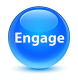 Engage glassy cyan blue round button. Engage isolated on glassy cyan blue round button abstract illustration Stock Photo