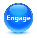 Engage glassy cyan blue round button Stock Photo