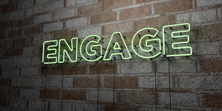 ENGAGE - Glowing Neon Sign on stonework wall - 3D rendered royalty free stock illustration. Can be used for online banner ads and direct mailers Stock Photo