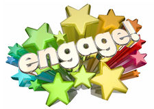 Engage Interact Involve Communicate Stars. 3d Illustration Royalty Free Stock Photos