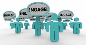 Engage Interact Involve Speech Bubble People Stock Photo