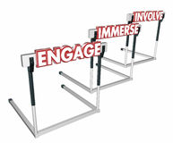 Engage Involve Immerse Interact Hurdles. 3d Illustration Stock Image