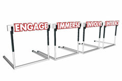 Engage Involve Immerse Interact Hurdles Join Communicate. 3d Illustration Stock Image