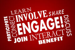 Engage Involve Participate Join Interact Collage Royalty Free Stock Photo