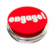 Engage Red Button Activate Interact Communicate. 3d Illustration Royalty Free Stock Photo