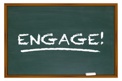 Engage Word Chalk Board Learn Interaction Involvement. 3d Illustration Stock Images