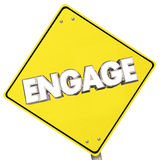 Engage Yellow Sign Road Participate Ahead Word Stock Photography