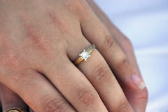 Engaged. Close up of diamond engagement ring royalty free stock images