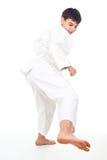 Engaged boy wrestling isolated. On white background Royalty Free Stock Photography