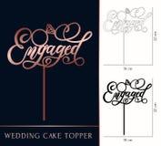 Engaged cake topper for laser or milling cut. Wedding rose gold. Lettering. Vector illustration lettering with ring. Modern calligraphy vector illustration